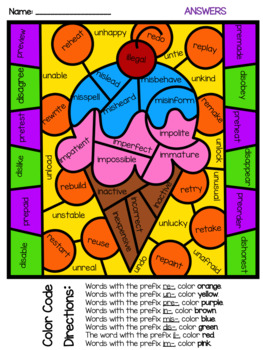 Color by Synonyms, Antonyms, Prefixes, & Suffixes