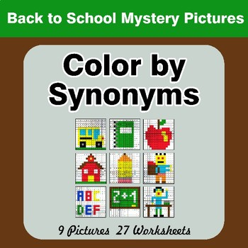 Color by Synonyms - Back To School Mystery Pictures