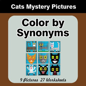 Color by Synonyms - Cats Mystery Pictures