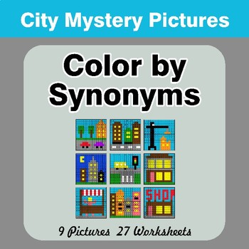 Color by Synonyms - City Mystery Pictures