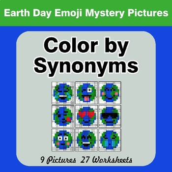 Color by Synonyms - Earth Day Emoji Mystery Pictures