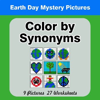 Color by Synonyms - Earth Day Mystery Pictures