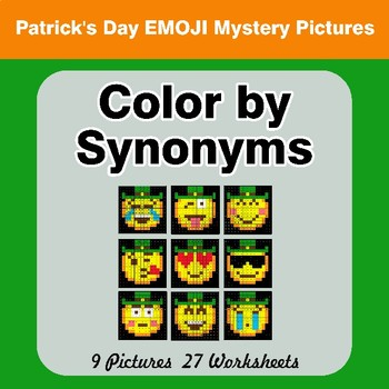 Color by Synonyms - St. Patrick's Day Emoji Mystery Pictures