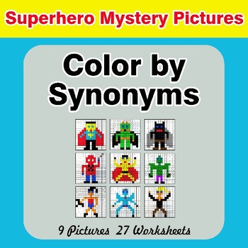 Color by Synonyms - Superhero Mystery Pictures
