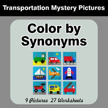 Color by Synonyms - Transportation Mystery Pictures