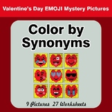 Color by Synonyms - Valentine's Day Emoji Mystery Pictures