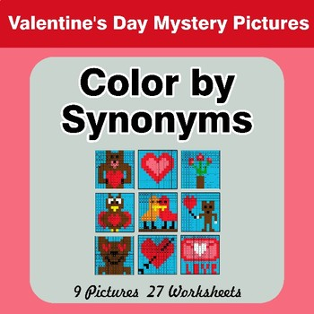 Color by Synonyms - Valentine's Day Mystery Pictures