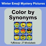 Color by Synonyms - Winter Snowman Emoji Mystery Pictures
