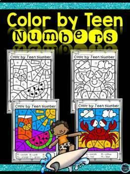 Color by Teen Number Bundle | Teen Numbers Kindergarten | Teen Numbers Coloring
