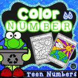 Color by Teen Number Earth Day | Teen Numbers Kindergarten