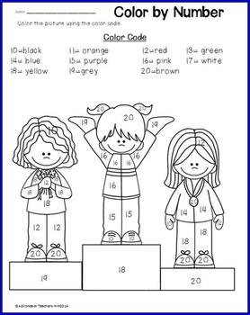color by teen numbers winter sports - Color Number Winter Worksheets