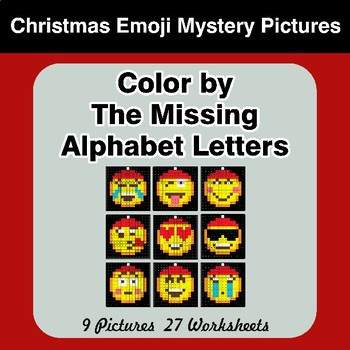 Color by The Missing Alphabet Letters - Christmas Emoji Mystery Pictures