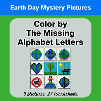 Color by The Missing Alphabet Letters - Earth Day Mystery Pictures