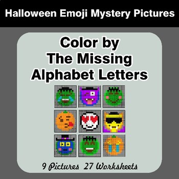 Color by The Missing Alphabet Letters - Halloween Emoji Mystery Pictures