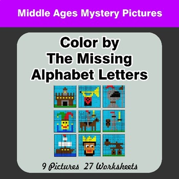 Color by The Missing Alphabet Letters - Middle Ages Mystery Pictures