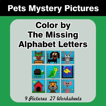 Color by The Missing Alphabet Letters - Pets Mystery Pictures