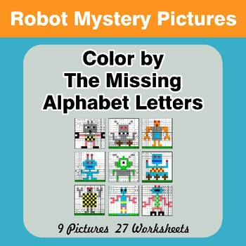 Color by The Missing Alphabet Letters - Robots Mystery Pictures