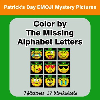 Color by The Missing Alphabet Letters - St. Patrick's Day Emoji Mystery Pictures