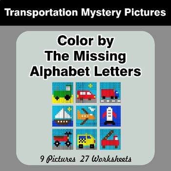 Color by The Missing Alphabet Letters - Transportation Mystery Pictures