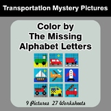 Color by The Missing Alphabet Letters - Transportation Mys
