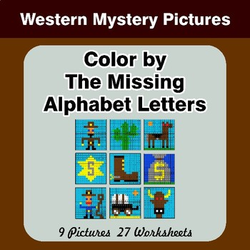 Color by The Missing Alphabet Letters - Western Mystery Pictures
