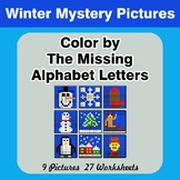 Color by The Missing Alphabet Letters - Winter Mystery Pictures