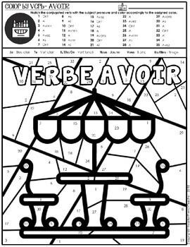 Color by Verbs French Avoir -Color by Conjugation -1 Version (Bistros en France)