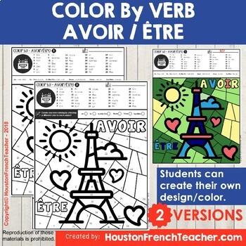 Color by Verbs French Avoir Etre - Color by Conjugation-2 Versions (Tour Eiffel)