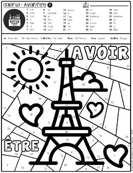 Color by Verbs French Avoir Etre - Color by Conjugation-2 Versions (Tour Eiffel)