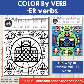 Color by Verbs French ER Verbs - Color by Conjugation - 1 Version (Le Louvre)