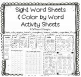 Color by Word Worksheets Kindergarten & First Grade Sight