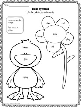 Color by Words (First Grade) ~ Spring