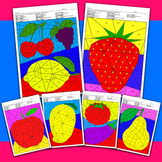 Color by code Addition & subtraction, Color by Number math Fruits coloring pages