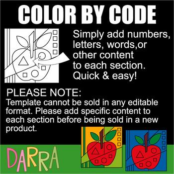 Color by code clip art: Beginning alphabet Part 1 (A, B, C, D, E)