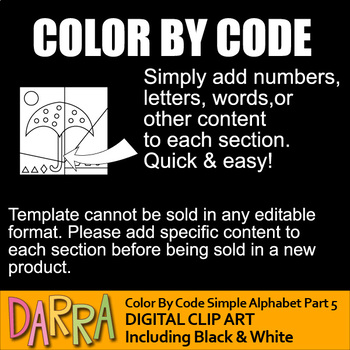 Color by code clipart - Simple alphabet part 5 (U, V, W, X, Y, Z)