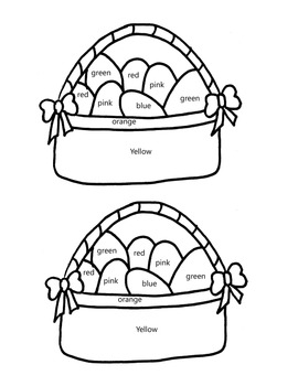 Color by color word Easter Egg Basket
