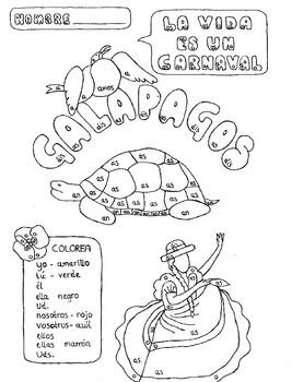 Color by conjugation AR-verb conjugation Spanish Galapagos no prep practice