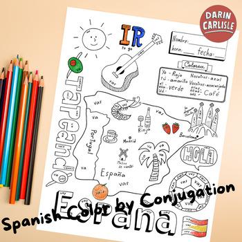 Color by conjugation IR ~Spanish verbs ~verb conjugation NO PREP ~Spain