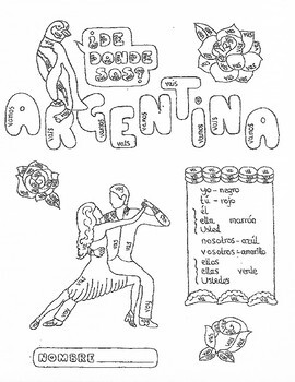 Spanish IR (to go) color by conjugation Argentina no prep practice worksheet