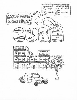 Spanish SER (to be) color by conjugation Cuba no prep fun worksheet