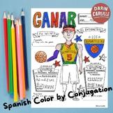 Color by conjugation ~ganar ~Spanish verb conjugation ~no prep AR verb practice