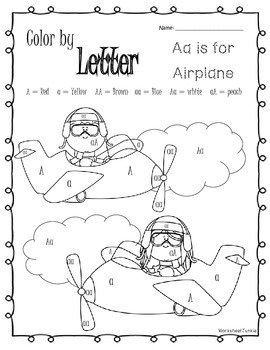 Color by letter A-Z worksheets