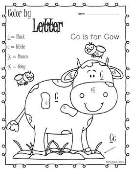 Color by letter A-Z worksheets