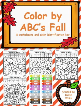 Color by letter Fall Theme: letter id worksheets