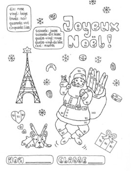 Color by number French Christmas no prep practice