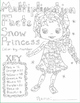 Color by number: Multiplication Snow Princess