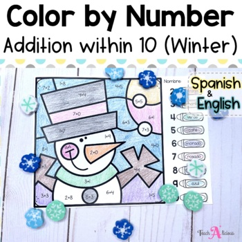 Color by number Winter| Addition to 10 in English & Spanish