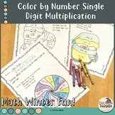 Color by number winter artwork with single digit multiplication