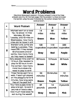 Color by number word problems