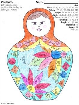 Color by numbers: addition practice (whole numebrs) Russian nesting doll